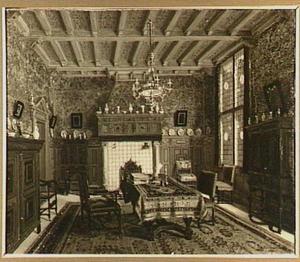 Interieur van de studeerkamer van Mr. Simon van Gijn in Dordrecht