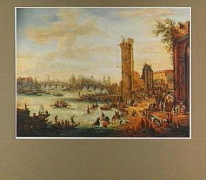 Gezicht op de Seine in Parijs richting het Ile de la Cité en de Pont Neuf (rechts de Tour de Nesle)
