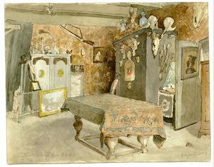 Atelier van de kunstenaar in het pand Voorstraat 68 in Delft