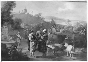 Rebekka geeft Eliëzer  bij de bron te drinken (Genesis 24:17)