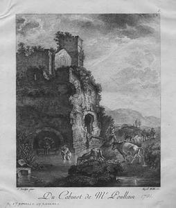 Herders bij een doorwaadbare plaats met ruïne