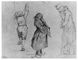 Drie Nederlandse figuren (studie voor Kasteel in de winter)