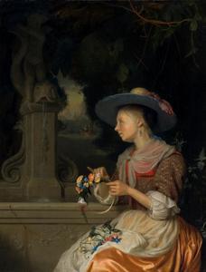 Jonge vrouw een bloemenkrans vlechtend