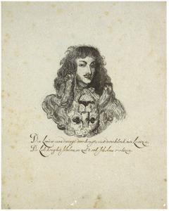 Portret van koning Lodewijk XIV, gecombineerd met een leeuwenkop