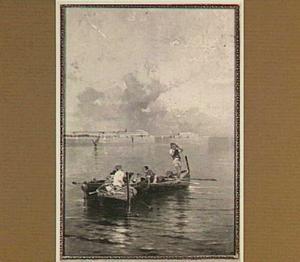 Twee roeiboten met Italiaanse vissers