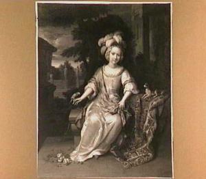 Portret van een meisje met een gepluimde muts