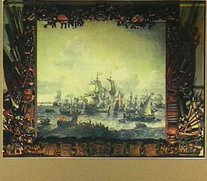De slag van Bossu op de Zuiderzee met Hoorn in het verschiet