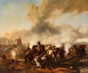 Ruitergevecht bij een burcht