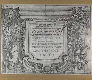 Titelblad met de Faam en de Schilderkunst rond een cartouche