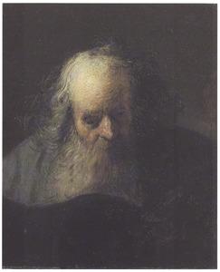 Borststuk van een oude man een boek lezend