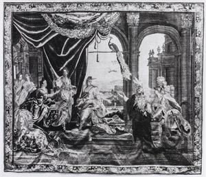 Oriane verwelkomt Amadis in koning Lisuarts kasteel