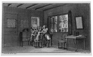 De Zwitserse wetenschapper Abraham Trembley (1710-1784) geeft onderwijs aan Anton en Albert Jan Bentinck in het huis Zorgvliet (tegenwoordig: Catshuis)