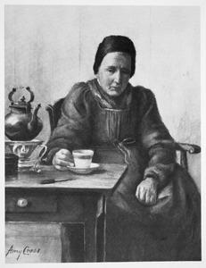 Hollandse vrouw aan de thee
