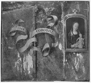 Maria met kind en staf met motto van Jacques Coëne