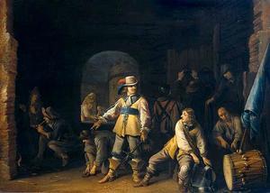 Wachtlokaal met soldaten