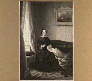 Interieur met handwerkende vrouw
