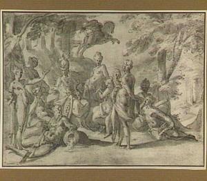 Minerva bezoekt de Muzen op de berg Helicon (Ovidius Metamorfosen: V:250-268)