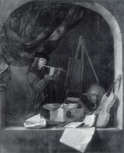 Fluitspelende schilder