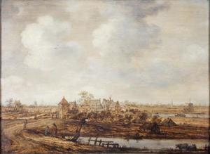 Weids polderlandschap met een groepje huizen en molens