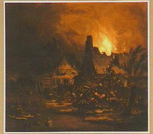 Nachtelijke brand in een dorp