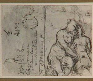 Fragment van een schets van twee naakte vrouwen