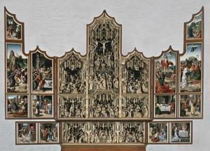 Christus verschijnt aan Maria, de gevangenneming, de intrede in Jeruzalem, Pilatus wast zijn handen, Christus voor zijn aanklagers (binnenzijde linkerluik); De kruisdraging, de geseling, de kruisiging, de doornenkroning, de bewening, de graflegging (middendeel); De opstanding, de maaltijd te Emmaüs, Noli me tangere, Hemelvaart, Pinksteren (binnenzijde rechterluik); De annunciatie, het huwelijk van Maria en Jozef (binnenzijde linker predellaluik); De geboorte van Christus, de Heilige Maagschap, de besnijdenis (predella); De aanbidding van de Wijzen, de presentatie in de tempel (binnenzijde rechter predellaluik)