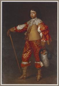 Karel II van Engeland alsPrince of Wales, staande ten voeten uit  eunend op een wandelstok met een hoed in de hand