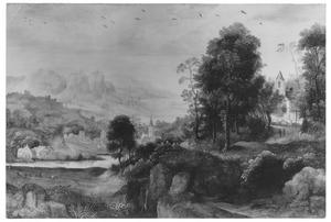 Bergachtig landschap met dorp aan een rivier