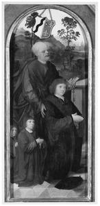 De H. Petrus met stichter en zijn zonen (op de achterzijde: de wapens van Van Horst Van Lichtenberch, Verbeec[k?], Wierse en Scherpeseel)