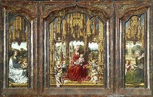 De H. Catharina (links), Maria met kind en musicerende engelen (midden), de H. Barbara (rechts)