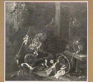 Vechtende hond en kat bij een mand met vlees en een kruiwagen met groente; in de achtergrond drinkende boeren