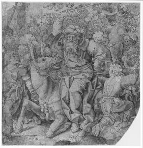 De ezelin van Bileam knielt voor de engel des Heeren, die Bileam niet. Bileam ranselt haar af (Numeri 22:1-35)