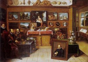 Abraham Ortelius en Justus Lipsius in een kunstkabinet