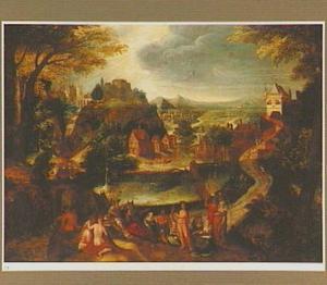 Panoramisch landschap met op de voorgrond het oordeel van Midas (Ovidius, Met. 6:146-179)