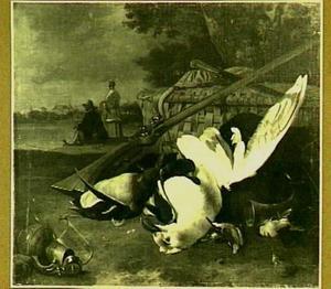 Meeuw en ander dood gevogelte in een avondlandschap