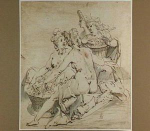 Vier naakte vrouwen met bloemenmanden