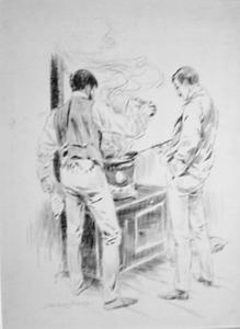 Twee mannen achter het fornuis