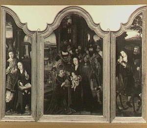 Drieluik met de aanbidding der Koningen (midden), de aankondiging (links) en de vlucht naar Egypte (rechts); op het middenluik het portret van Klaes Soutman als een van de drie koningen