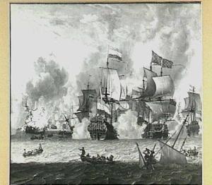Ontmoeting tussen Hollandse en Frans-Engelse schepen bij de Slag van La Hogue, 23-24 mei 1692