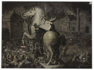 De Grieken springen uit het Trojaanse Paard en plunderen Troje