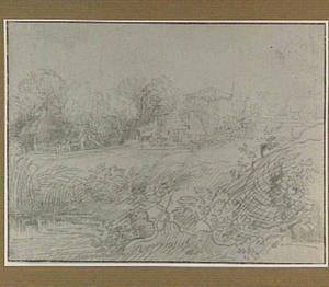 Landschap met boerderijen en hooiberg