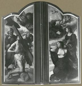 God de Vader, Christus met het kruis, de HH. Petrus en Paulus (links); Maria en de H. Margaretha (rechts)