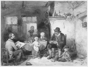 Kunstenaar tekent een boerenfamilie