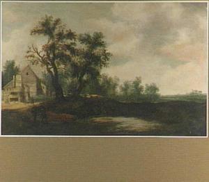Landschap met op de voorgrond twee jagers op een weg langs een vennetje