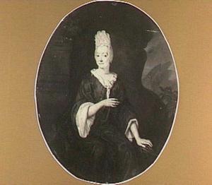 Portret van een vrouw zittend voor een landschap