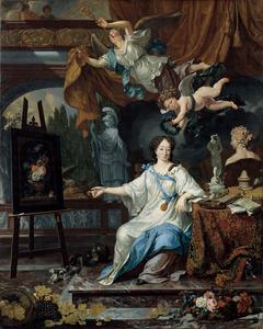 Allegorisch portret van een vrouw, waarschijnlijk Rachel Ruysch (1664-1750)
