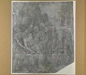 De graflegging (Johannes 19:38-42); op de achtergrond: De afneming van het kruis (Mattheüs 27:57-61)