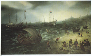 Schepen voor de kust bij Scheveningen