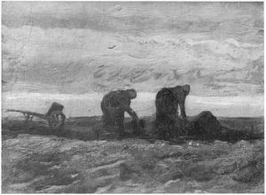 Twee gravende vrouwen en een kruiwagen
