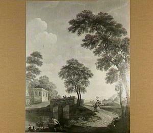 Landschap met figuren en brug